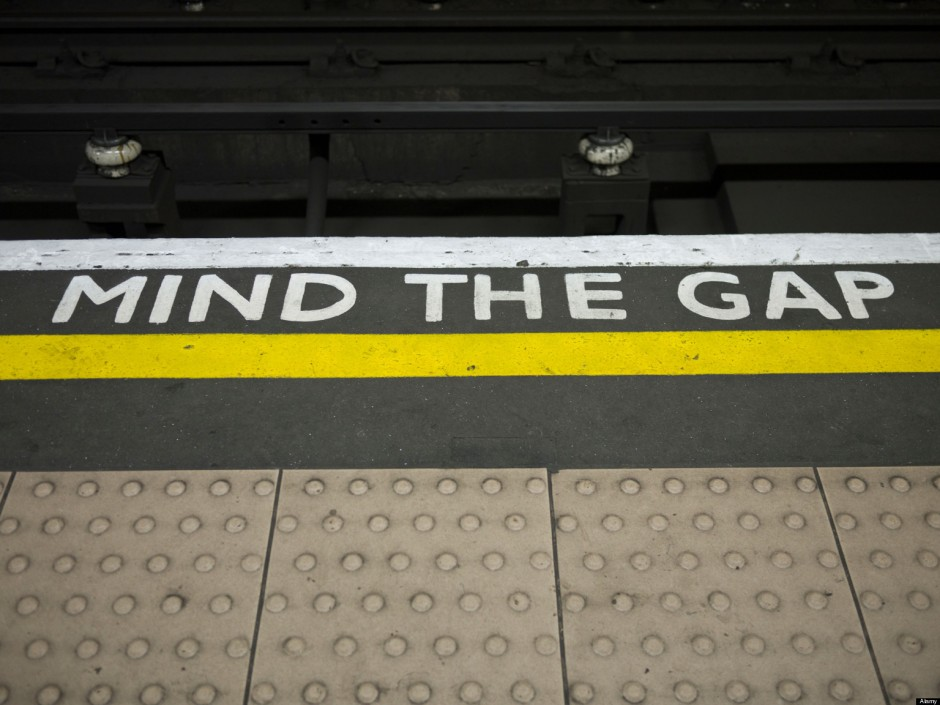 Mind the Gap sign image for parenting blog ont he gap between kids